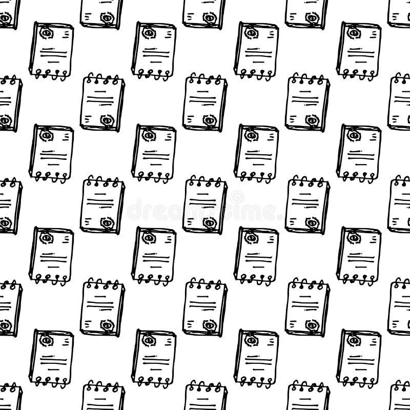 Handgezogenes nahtloses Muster-Dokumentengekritzel Skizzenartikone Eingelassenes Genua, Italien Getrennt auf wei?em Hintergrund F lizenzfreie abbildung