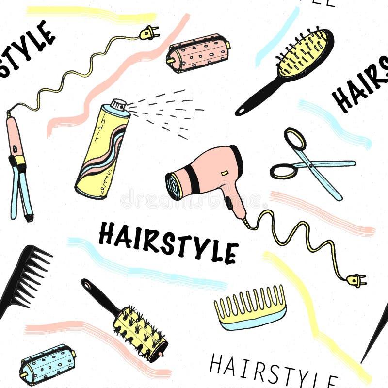 Handgezogenes nahtloses Muster für Schönheitssalon mit Frisurnwerkzeugen lizenzfreie abbildung