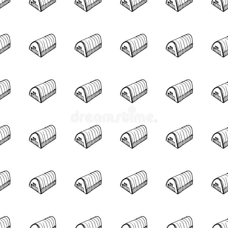 Handgezogenes nahtloses Muster-Hangargekritzel Skizzenartikone Eingelassenes Genua, Italien Getrennt auf wei?em Hintergrund Flach stock abbildung