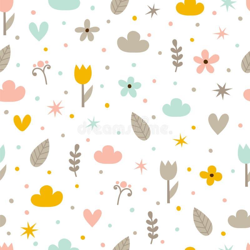 Handgezogenes nahtloses Muster mit Blumen, Sternen, Herzen und Wolken Kreativer modischer Hintergrund abstrakter Hintergrund Groß lizenzfreie abbildung