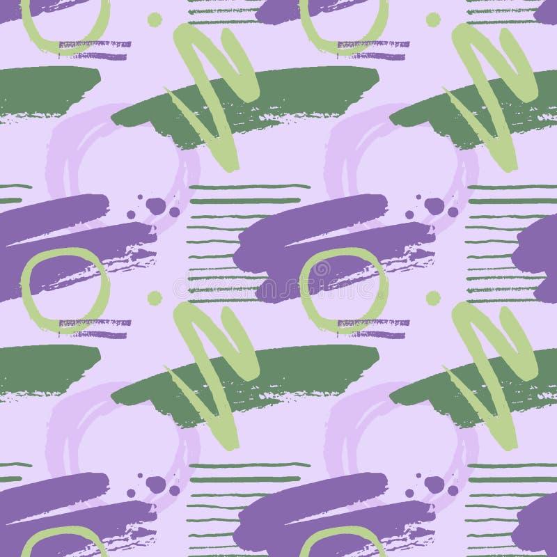 Handgezogenes nahtloses Muster mit Farbenflecken, -stellen, -punkten und -linien stock abbildung