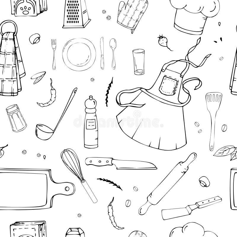 Handgezogenes nahtloses Muster mit Küchen-Geräten lizenzfreie abbildung