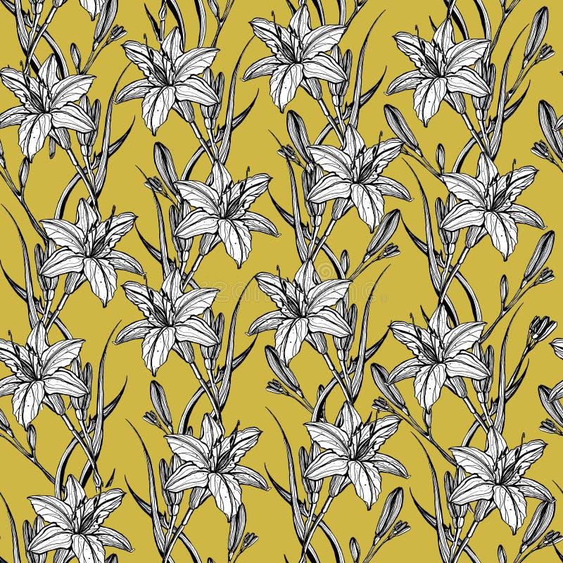 Handgezogenes nahtloses Muster mit lilly Blumen lizenzfreie abbildung