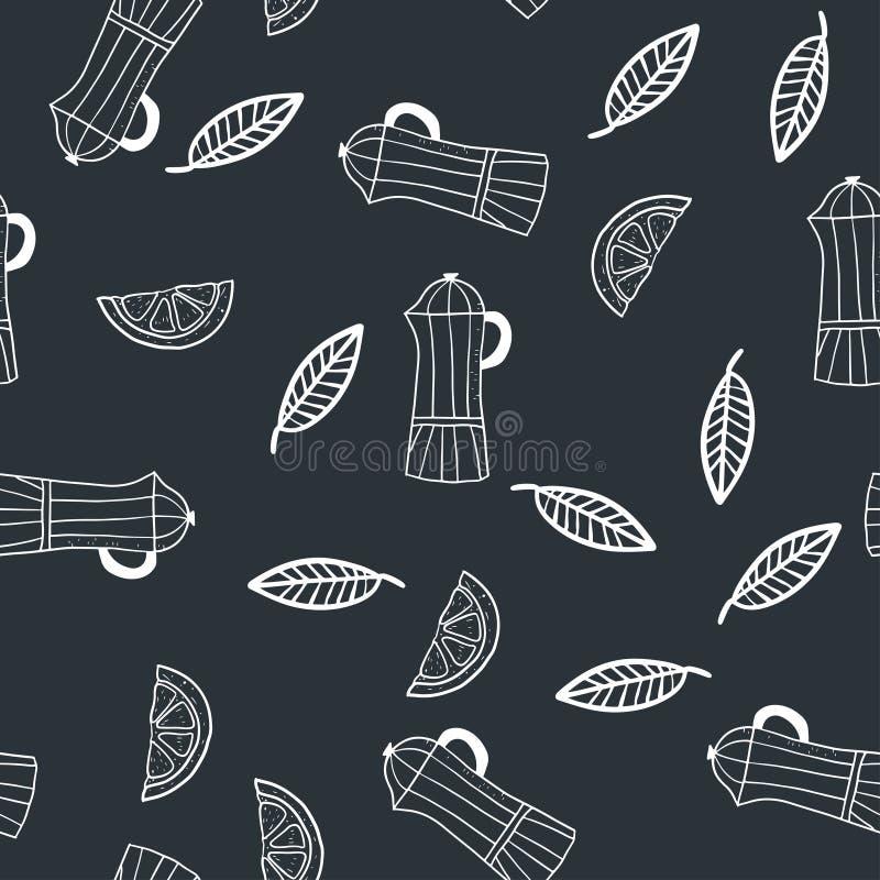 Handgezogenes nahtloses Muster mit Zitronenscheiben, Bl?ttern und Kaffeemaschinen stock abbildung