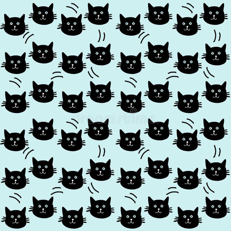 Handgezogenes nahtloses Muster von Schattenbildkatzen auf grünem Hintergrund lizenzfreie abbildung