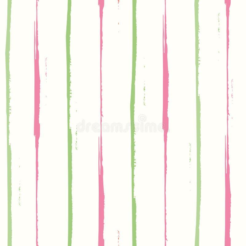 Handgezogenes Rosa und grünes Aquarell streiften vertikal geometrischen Entwurf Geräumiges nahtloses Vektormuster auf Weiß vektor abbildung