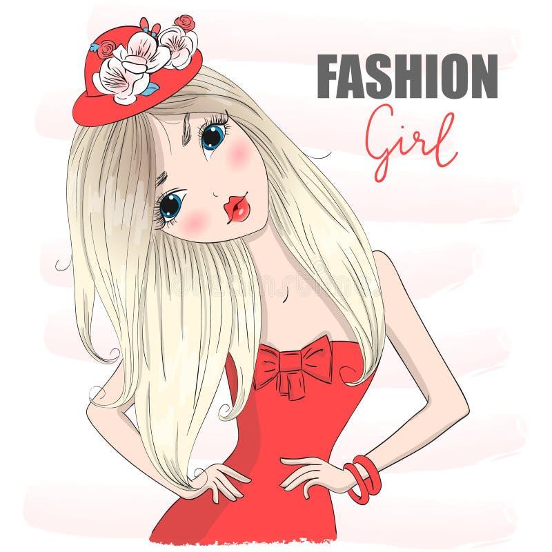 Handgezogenes schönes nettes Karikatur-Modemädchen im roten Kleid lizenzfreie abbildung