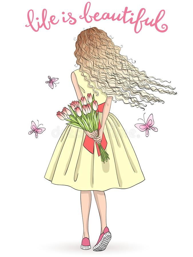 Handgezogenes schönes nettes Mädchen steht mit ihrer Rückseite mit einem Blumenstrauß von Blumen und von Schmetterlingen vektor abbildung
