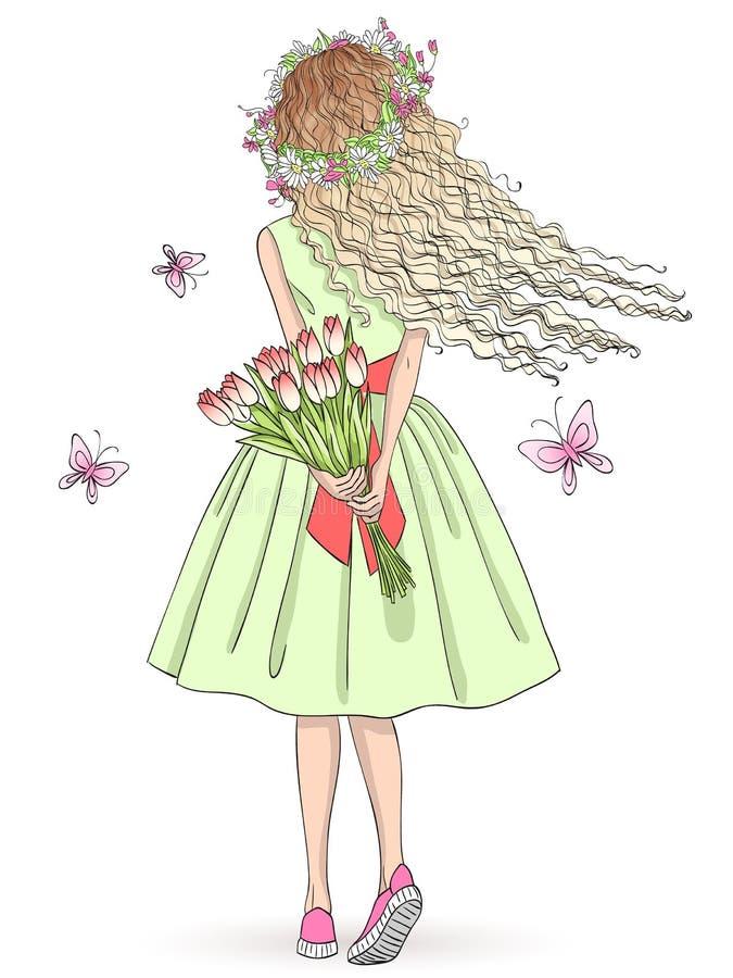 Handgezogenes schönes nettes Mädchen steht mit ihrer Rückseite mit einem Blumenstrauß von Blumen und von Schmetterlingen lizenzfreie abbildung