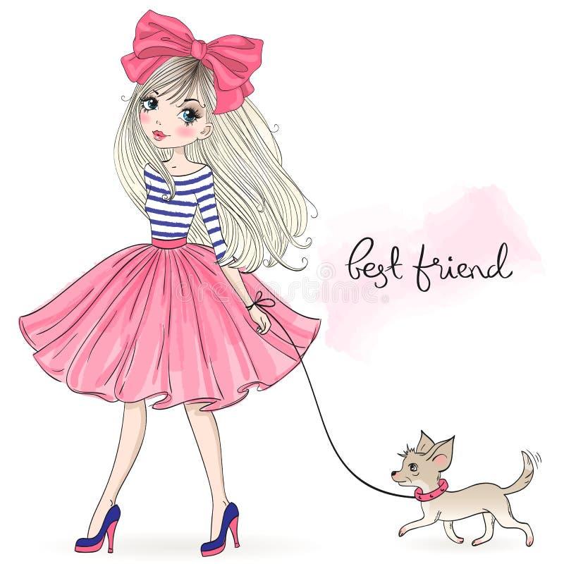 Handgezogenes schönes, nettes Modemädchen mit hübschen Hundechihuahua stock abbildung