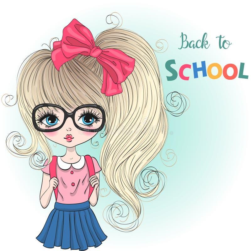 Handgezogenes schönes nettes Schulmädchen mit Rucksäcken auf Hintergrund mit der Aufschrift zurück zu Schule lizenzfreie abbildung