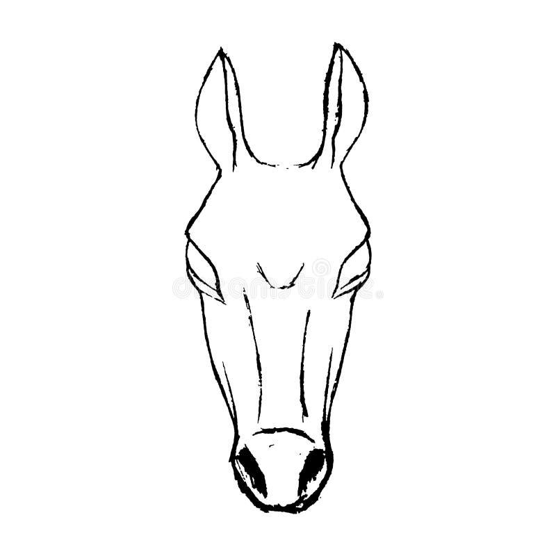 Handgezogenes Skizzen-Artpferd Abbildung getrennt auf weißem Hintergrund stock abbildung