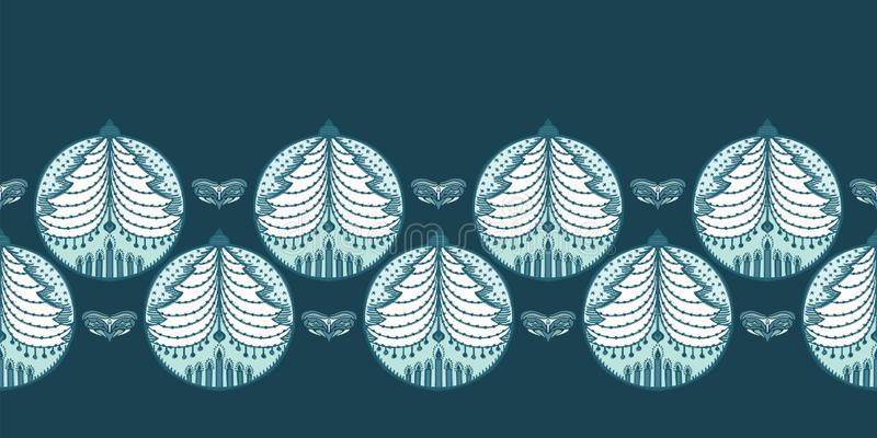 Handgezogenes stilisiertes Weihnachtsbaum-Flittergrenzmuster Tannenverzierung auf grünem Hintergrund Nettes Volkskunstwinterurlau stock abbildung