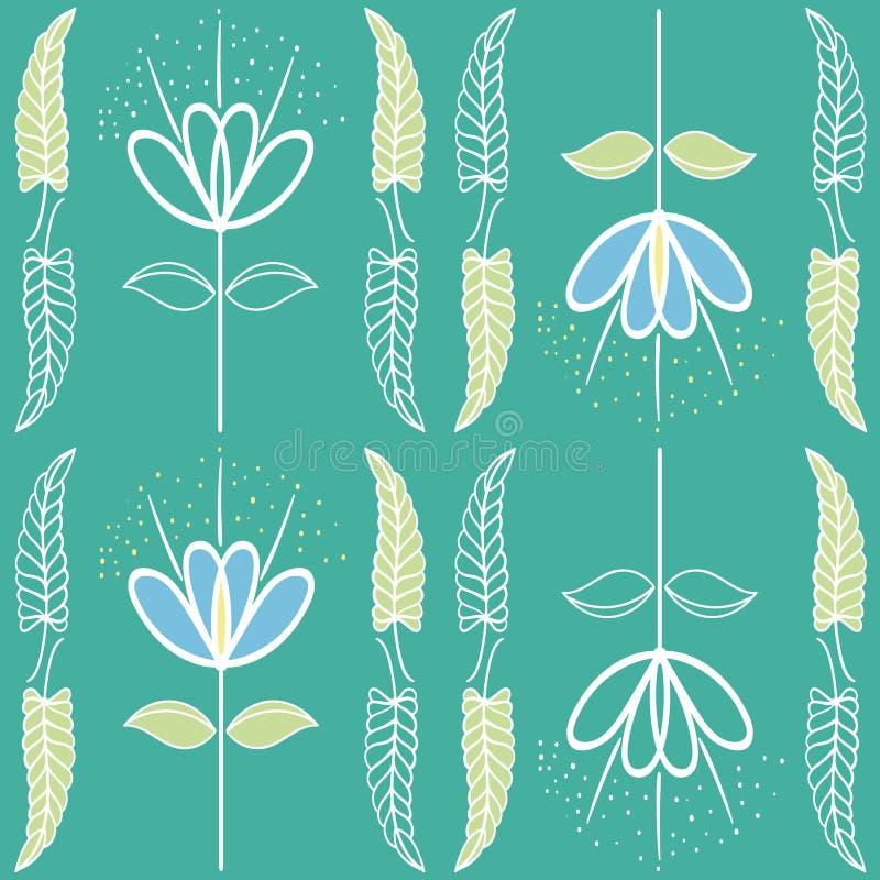 Handgezogenes unfertiges weiches Blau und grünes Blumenmuster in der Jugendstilart Nahtloses Vektormuster auf vibrierendem stock abbildung