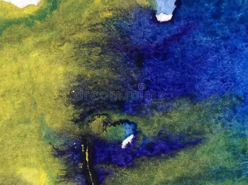 Handgjord abstrakt ljus färgrik textural bakgrund för vattenfärg Målning av den undervattens- världen kusthav vektor illustrationer