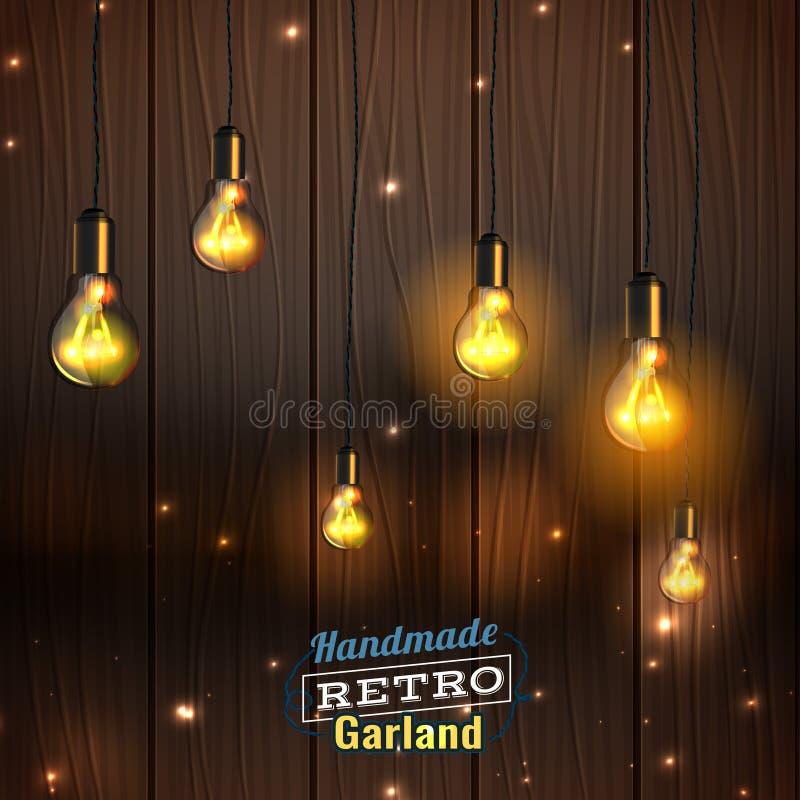 Handgjord belysninggirland stock illustrationer
