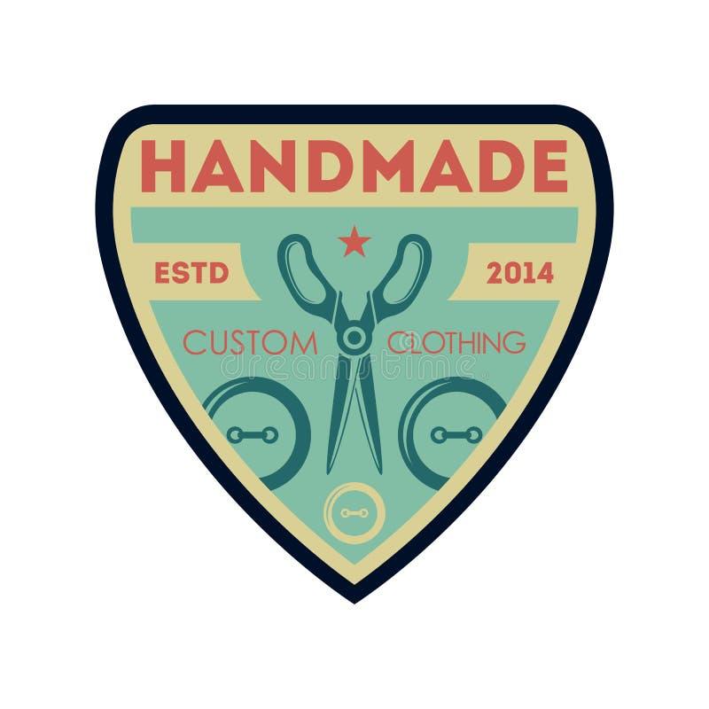 Handgjord beställnings- isolerad etikett för kläder tappning vektor illustrationer