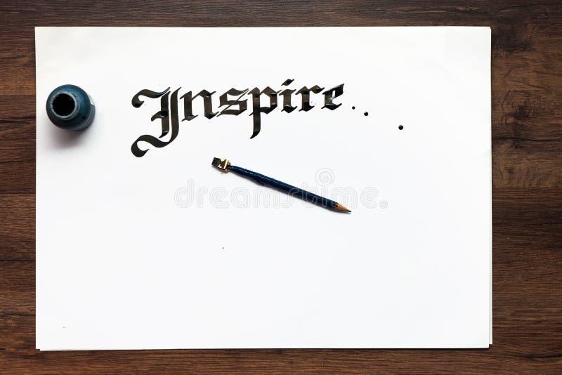 Handgjord bokstäverbakgrund för kalligrafi arkivfoto