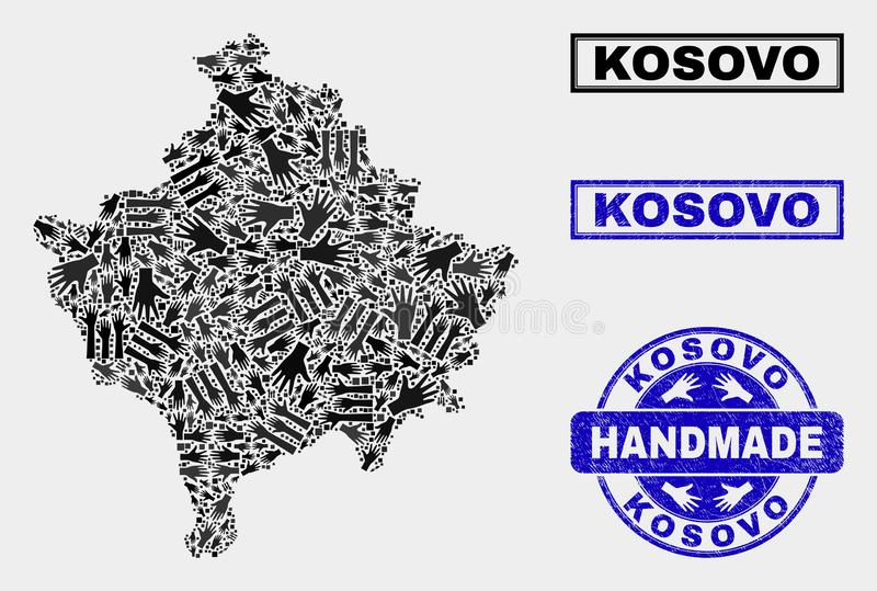 Handgjord collage av den Kosovo översikten och den skrapade skyddsremsan royaltyfri illustrationer