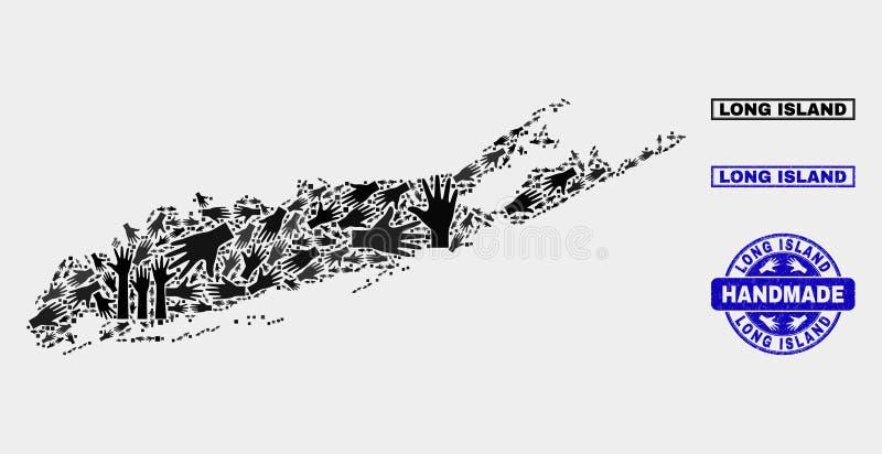 Handgjord collage av den Long Island översikten och Grungestämpeln vektor illustrationer