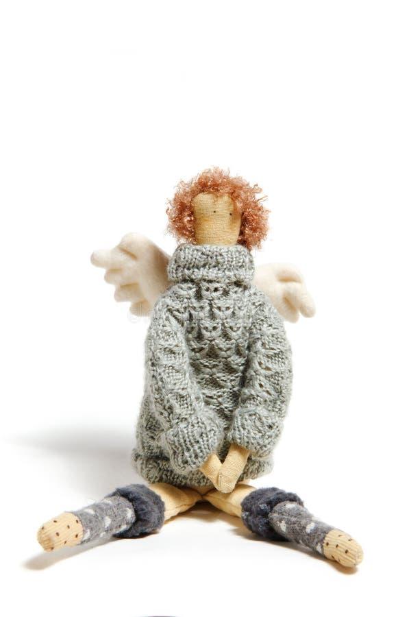 Handgjord docka för ängel i tröja arkivbild