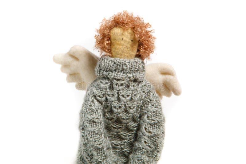 Handgjord docka för ängel i tröjaslut upp royaltyfri bild