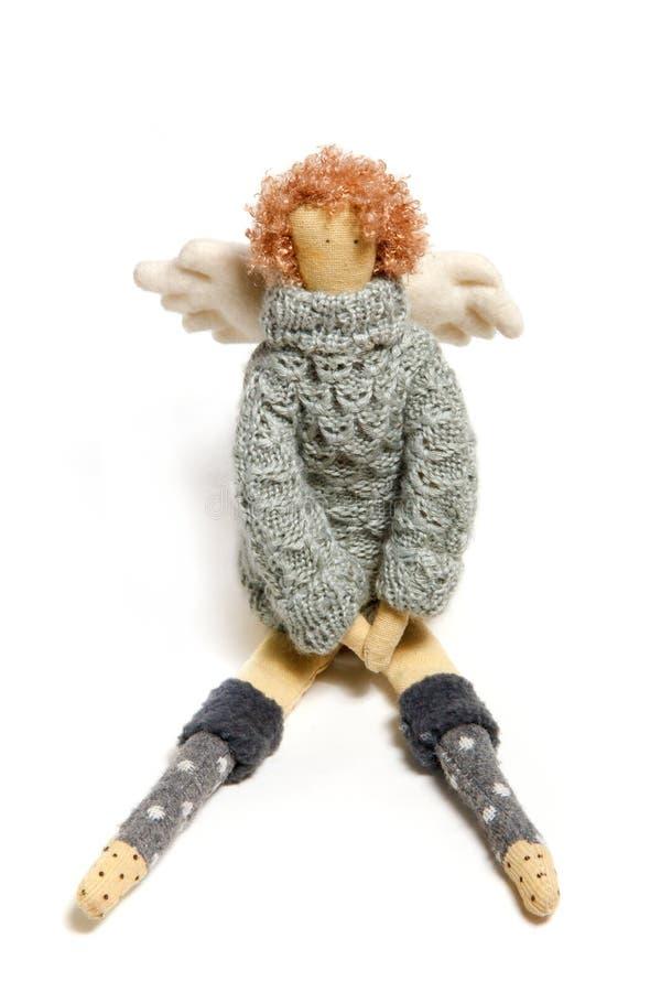 Handgjord docka för ängel som isoleras på vit fotografering för bildbyråer