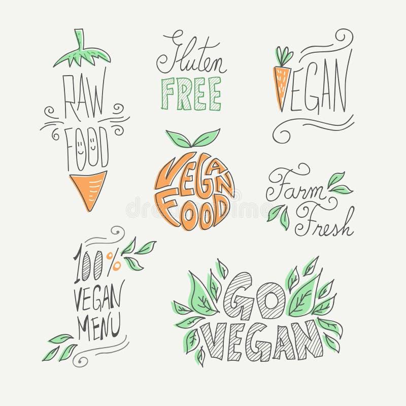 Handgjord etikettuppsättning för strikt vegetarian och för råkost stock illustrationer