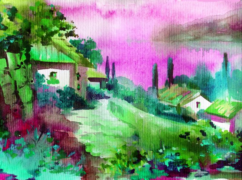 Handgjord färgrik ljus texturerad abstrakt bakgrund för vattenfärg Medelhavs- landskap Målning av byn av havskusten stock illustrationer