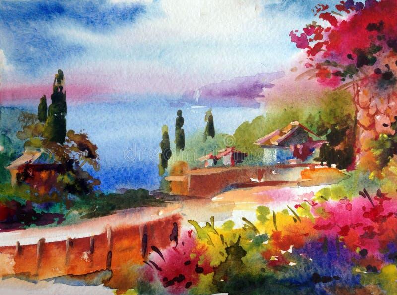 Handgjord färgrik ljus texturerad abstrakt bakgrund för vattenfärg Medelhavs- landskap Målning av havskusten vektor illustrationer