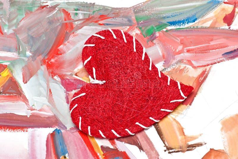 handgjord hjärtavattenfärg för bakgrund stock illustrationer