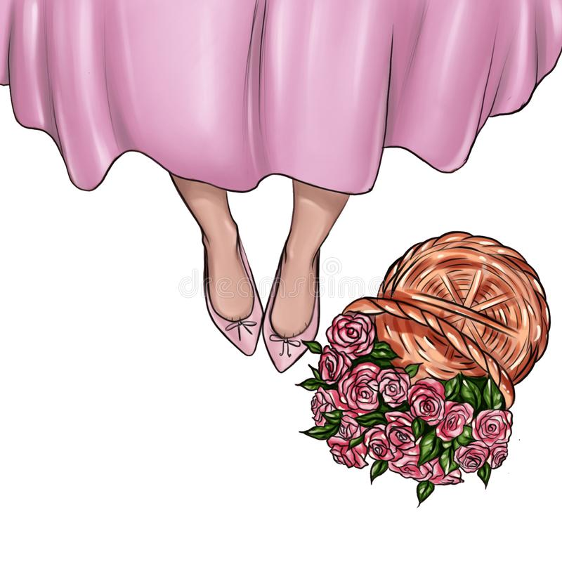 Handgjord illustration av flickaskor och korg av nya rosor stock illustrationer
