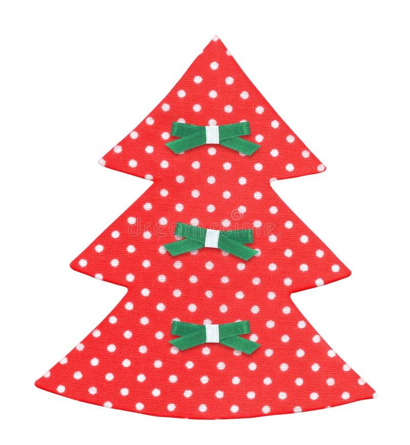 Handgjord julgran som dekoreras med isolerade band arkivbild