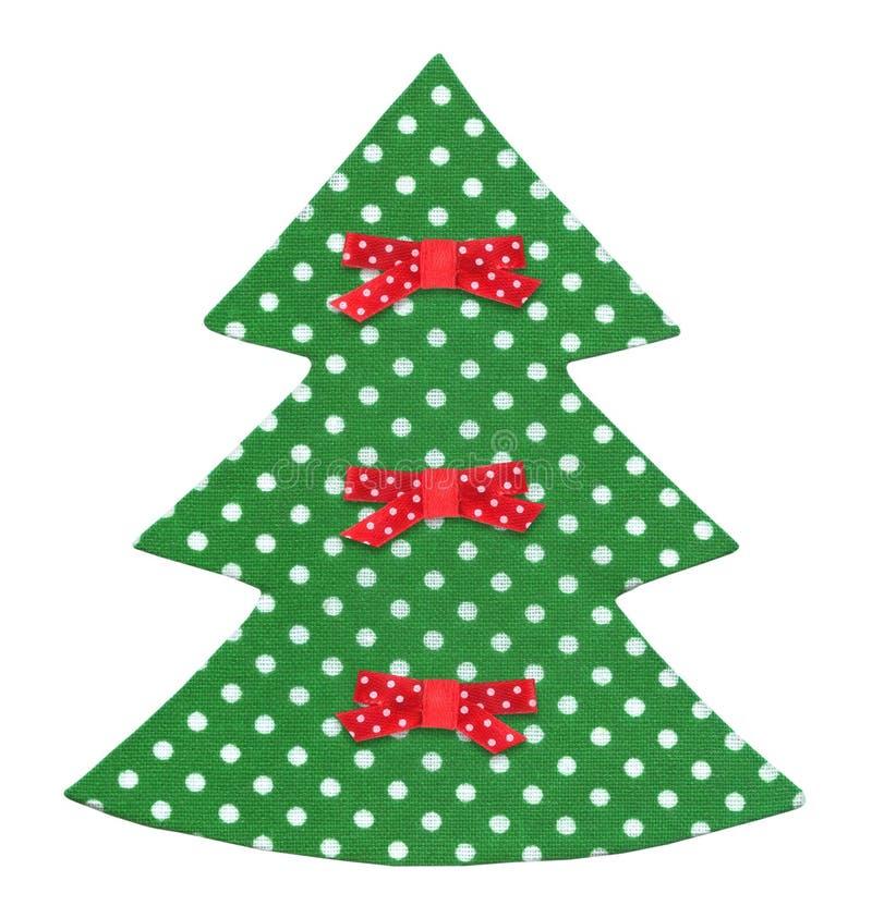 Handgjord julgran som dekoreras med isolerade band royaltyfri fotografi