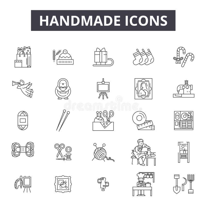 Handgjord linje symboler, tecken, vektoruppsättning, översiktsillustrationbegrepp stock illustrationer