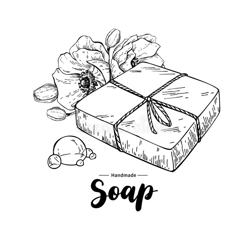 handgjord naturlig tvål Dragen organisk skönhetsmedel för vektor hand med blomman royaltyfri illustrationer