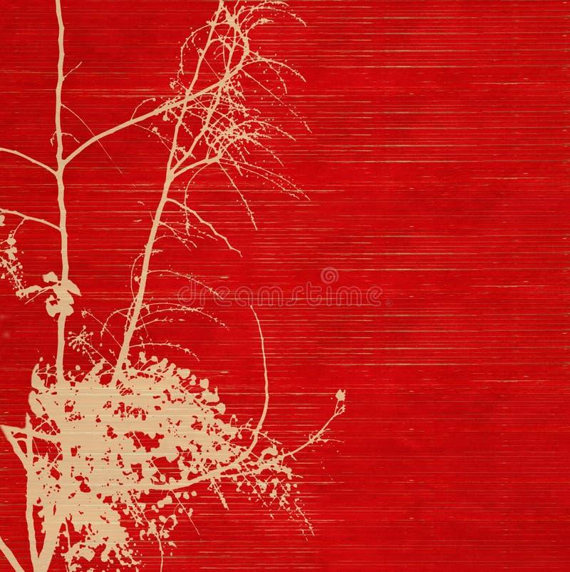 handgjord paper röd ribbed silhouette för blomning royaltyfri bild