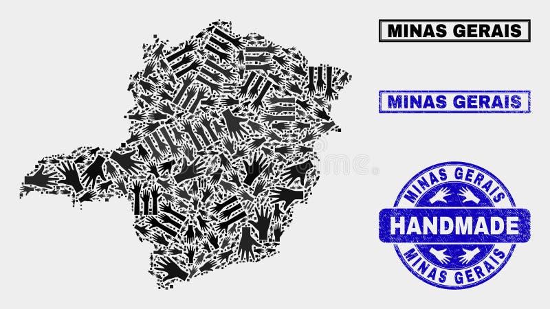 Handgjord sammansättning av Minas Gerais State Map och den skrapade stämpeln royaltyfri illustrationer