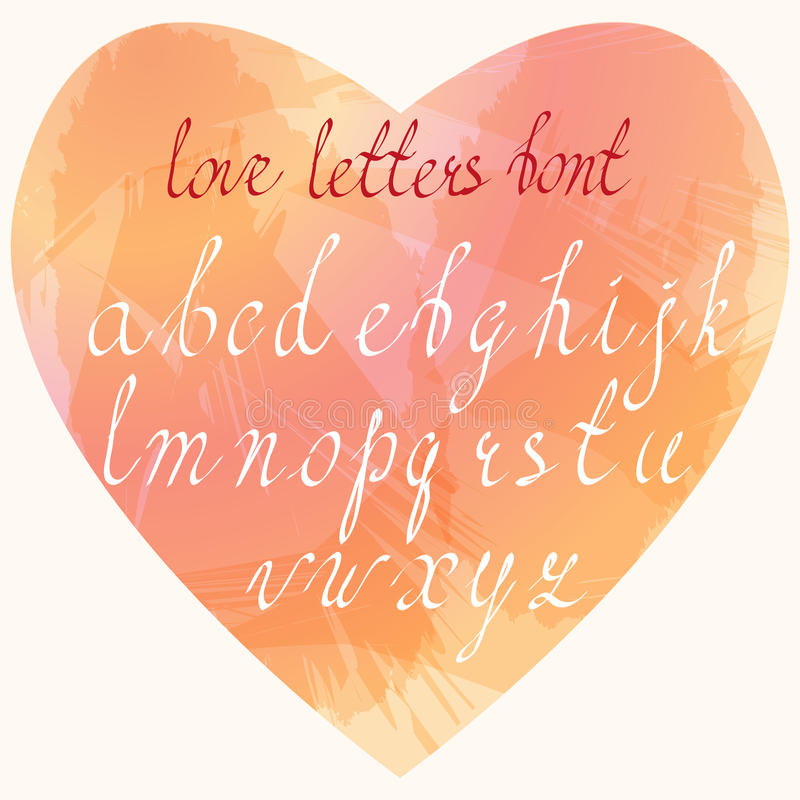 Handgjord stilsort för förälskelsebokstäver Hand drog coursive bokstäver royaltyfri illustrationer