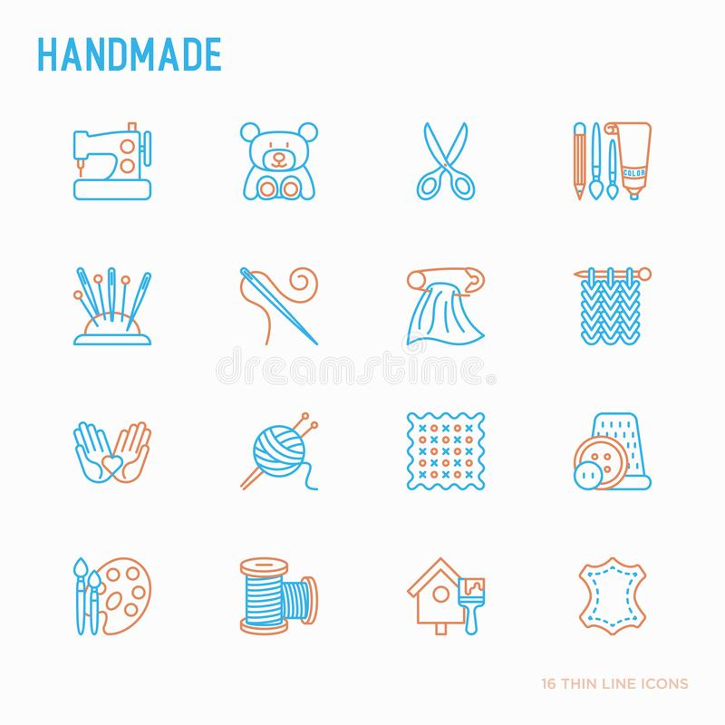 Handgjord tunn linje symbolsupps?ttning: symaskin handarbete, handarbete, teckning, broderi, sax, tr?dar, garn, stift modernt royaltyfri illustrationer
