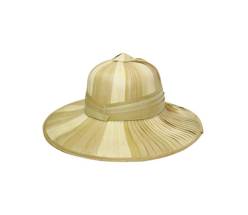 Handgjord väva hatt som isoleras på vit bakgrund med urklippet royaltyfria bilder