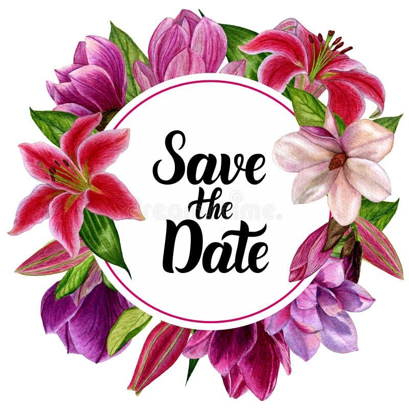 Handgjord vattenfärg, en krans med blommor För designen av dina inbjudningar till bröllopet vektor illustrationer