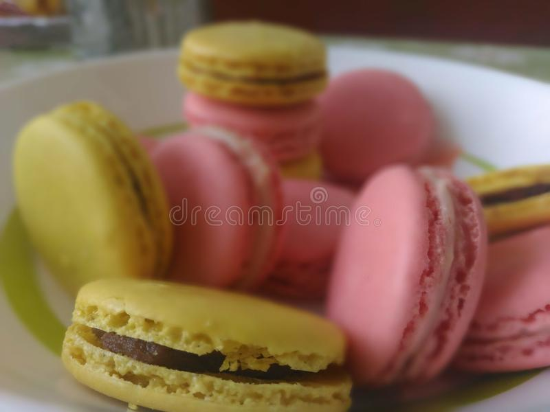 Handgjorda söta macarons arkivbilder