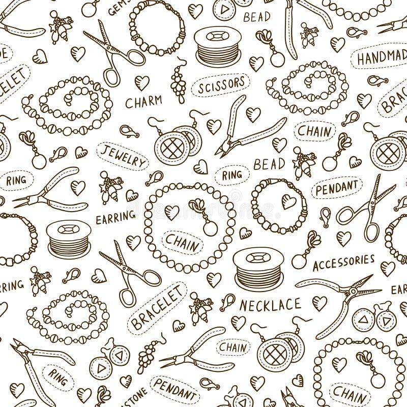 Handgjorda smyckenbeståndsdelar och sömlös modell för hjälpmedelvektor Pärlor och monokrom bakgrund för tillbehör skissar in stil stock illustrationer