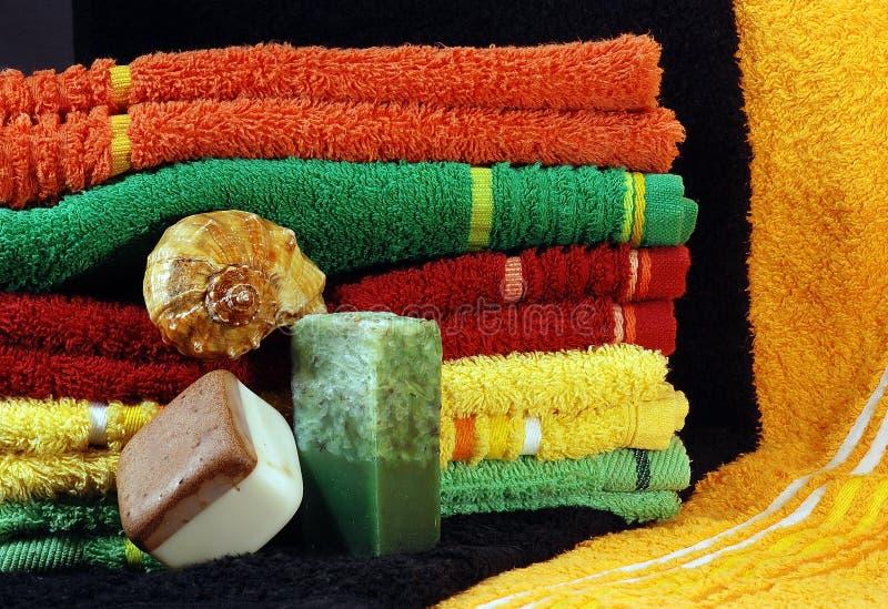 handgjorda tvålhanddukar arkivbilder