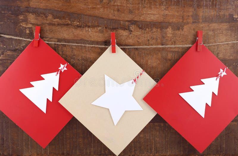 Handgjort julhälsningkort royaltyfri foto
