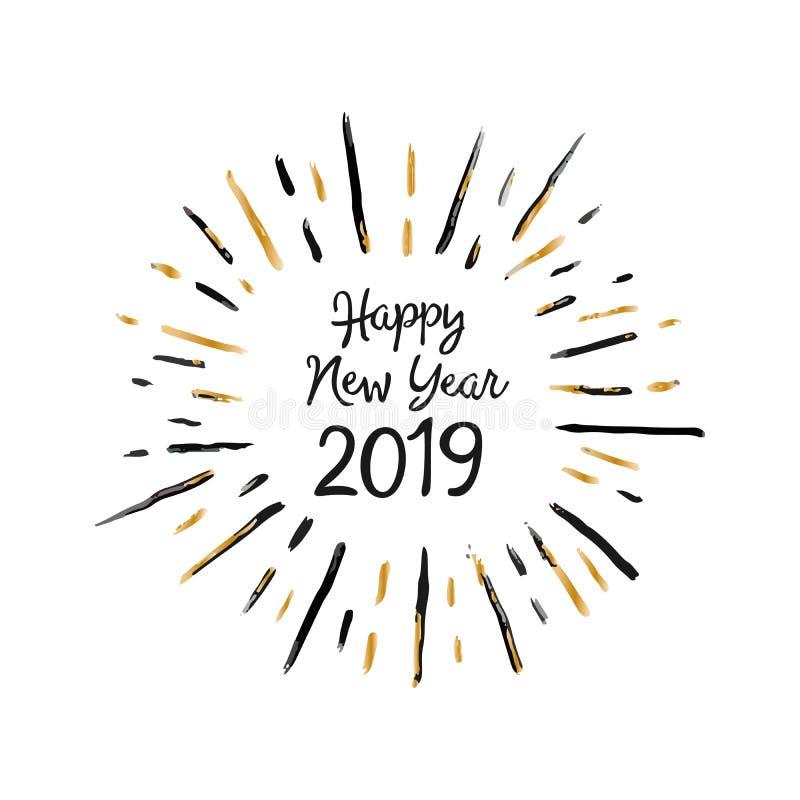 Handgjort kort för stiljulhälsning - lyckligt nytt år 2019 För tryck rengöringsdukmeddelanden, hälsningkort, baner, t-skjortor vektor illustrationer