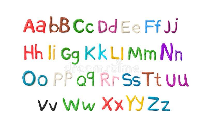 Handgjort plasticinealfabet Engelska färgrika bokstäver av att modellera lera royaltyfri illustrationer
