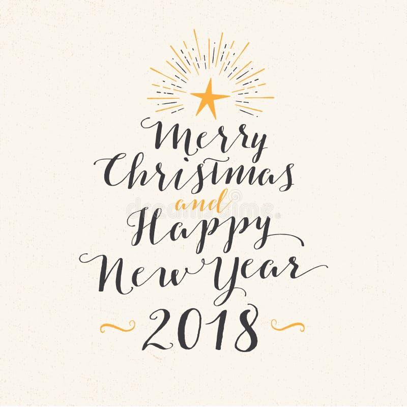 Handgjort stilhälsningkort - glad jul och lyckligt nytt år 2018 royaltyfri illustrationer