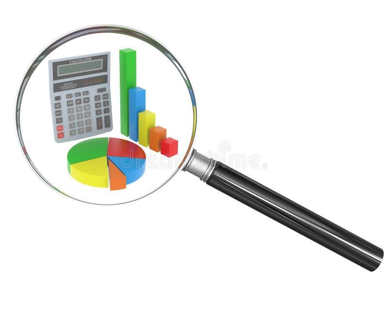 Handglas met calculator op geïsoleerde achtergrond stock foto